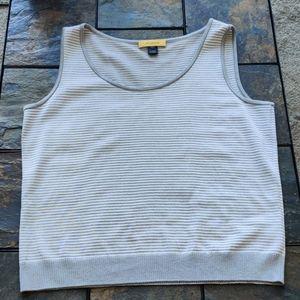 St. John Wool Blend Grey Striped Sweater Vest L